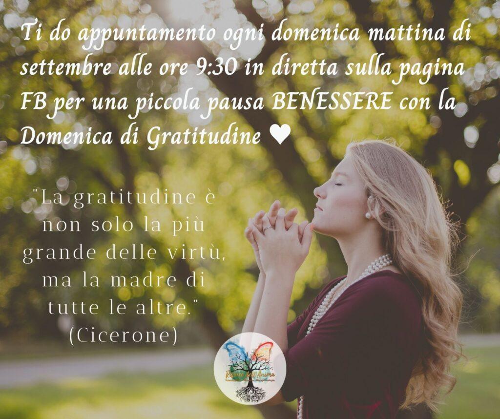 appuntamento per la domenica di gratitudine a settembre su facebook